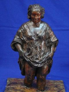 "Rembrandt in Bronze - ""Woman Bathing in Stream"" - Unique Etching Sculpture"