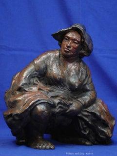 "Rembrandt in Bronze - ""Woman making Water"" - Unique Etching Sculpture"