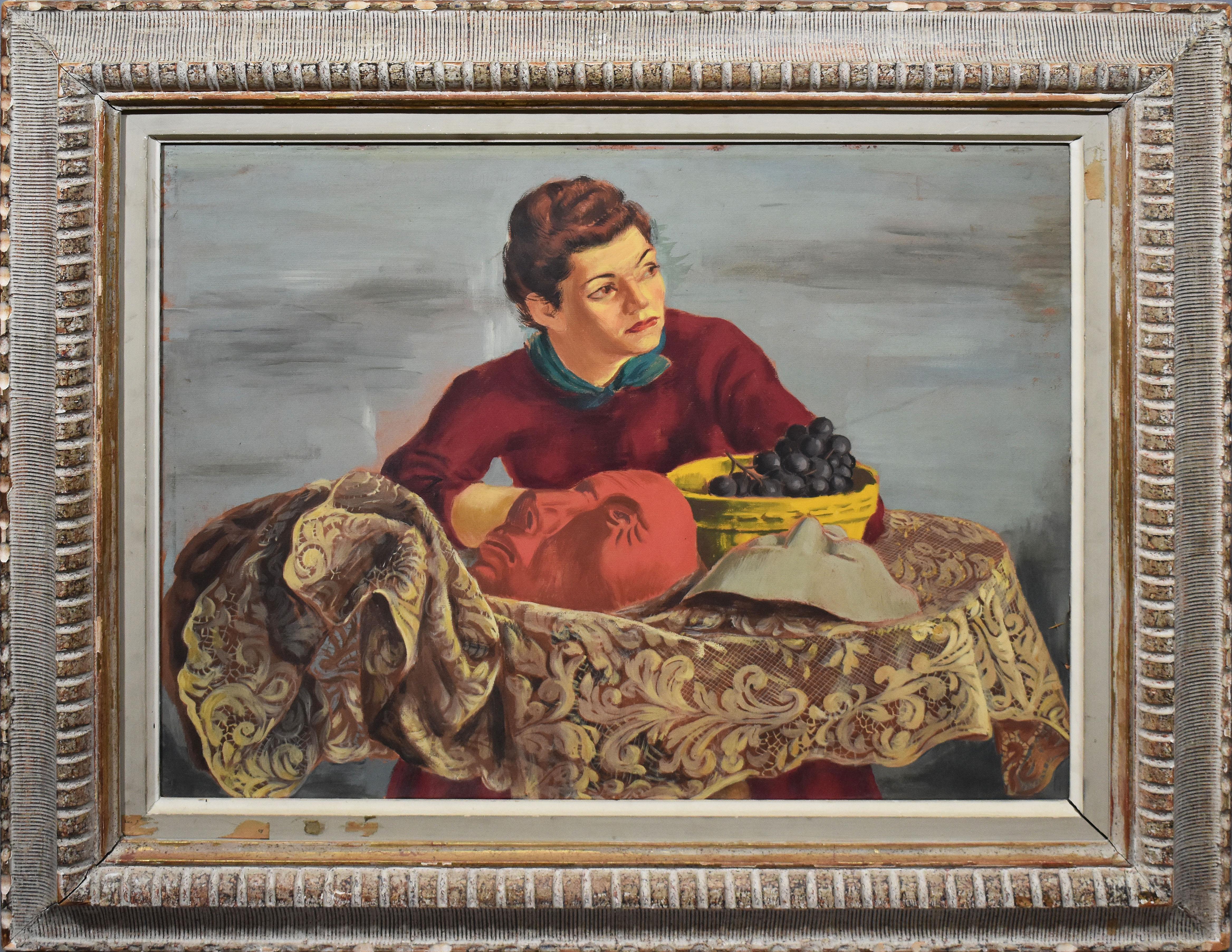 Antique American Modernist WPA Female Portrait Interior Exhibited Oil Painting