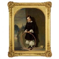 """Anatole Fouquet """"Portrait of a Boy"""" Antique Painting"""