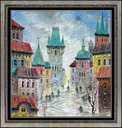 Anatole Krasnyansky Original Acrylic Painting Signed Cityscape Art oil Framed