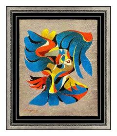 Anatole Krasnyansky Original Acrylic Painting Signed Music Portrait Bird Artwork