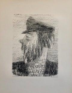 Vintage Russian Ukrainian Shtetl Scene Judaica Lithograph Jewish Portrait