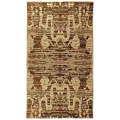Anatolia Traditional Deep Brown and Creamy Beige Hand Knotted Wool Rug