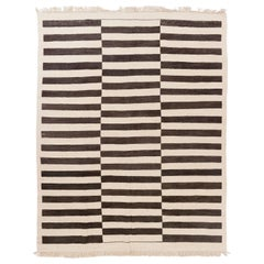 Striped Hand-woven Kilim Rug, 100% Natural Undyed Wool, Custom Options Available