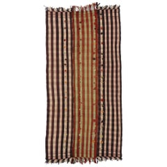 Anatolian Vintage Turkish Pompom Kilim Rug with Country Cottage Style