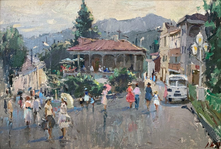 Impressionistic Street Scene with Figures in Aloupak Crimea by Russian Artist - Painting by Anatoliy Lukash