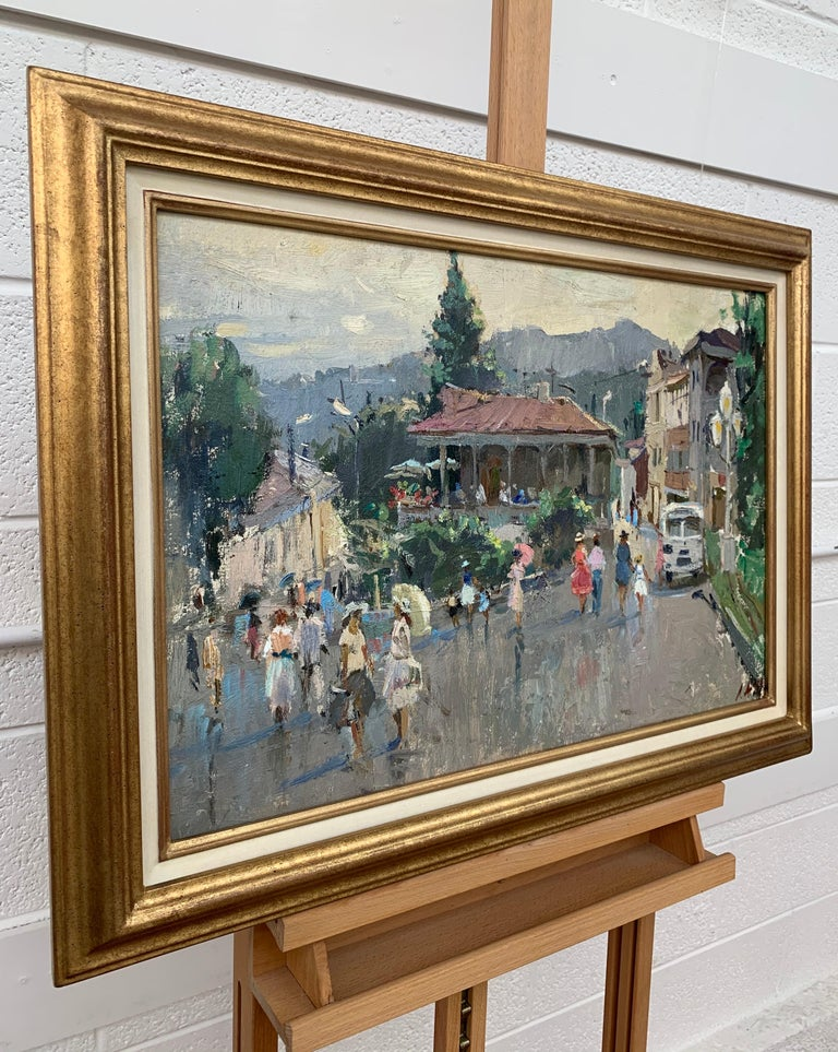 Impressionistic Street Scene with Figures in Aloupak Crimea by Russian Artist - Gray Landscape Painting by Anatoliy Lukash