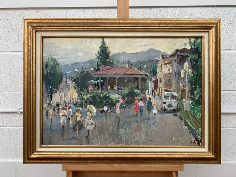Impressionistic Street Scene with Figures in Aloupak Crimea by Russian Artist. Anatoliy Lukash was born in 1956 and is based in Saint-Petersburg, Russia. He is a well-established painter with works held in collections all over the world. Slightly