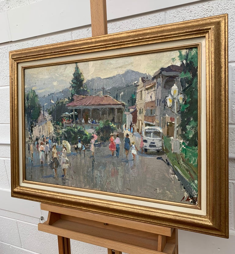 Impressionistic Street Scene with Figures in Aloupak Crimea by Russian Artist For Sale 1