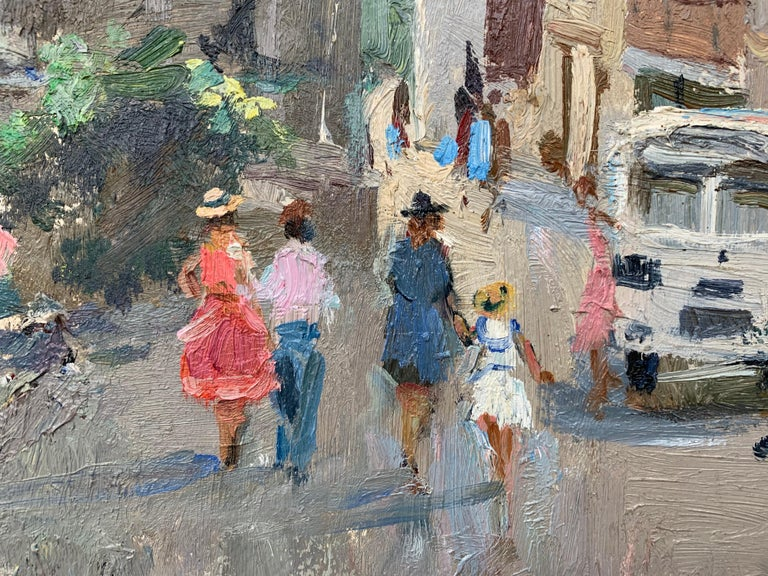 Impressionistic Street Scene with Figures in Aloupak Crimea by Russian Artist For Sale 2