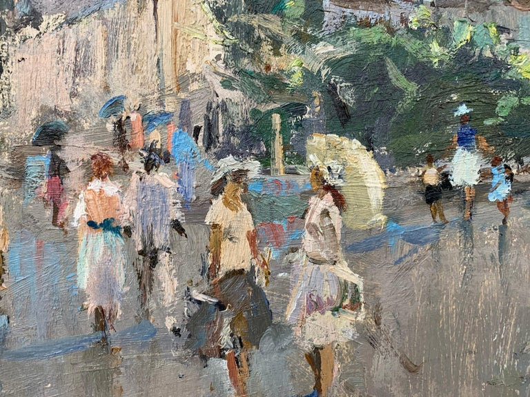 Impressionistic Street Scene with Figures in Aloupak Crimea by Russian Artist For Sale 3