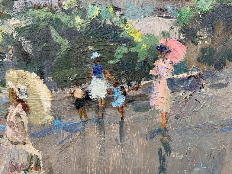 Impressionistic Street Scene with Figures in Aloupak Crimea by Russian Artist For Sale 4