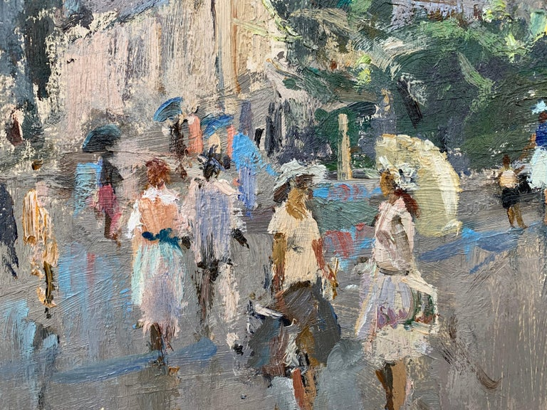 Impressionistic Street Scene with Figures in Aloupak Crimea by Russian Artist For Sale 5