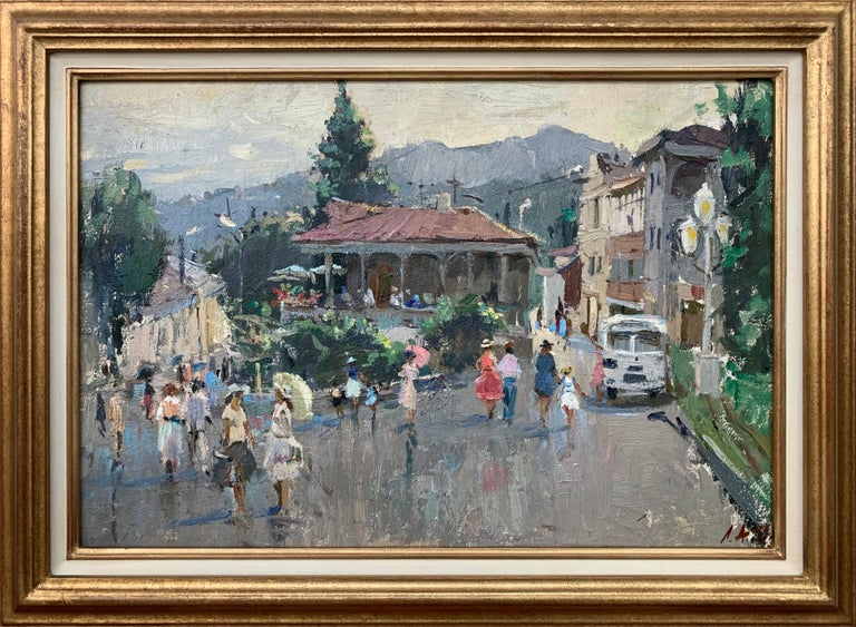 Anatoliy Lukash Landscape Painting - Impressionistic Street Scene with Figures in Aloupak Crimea by Russian Artist