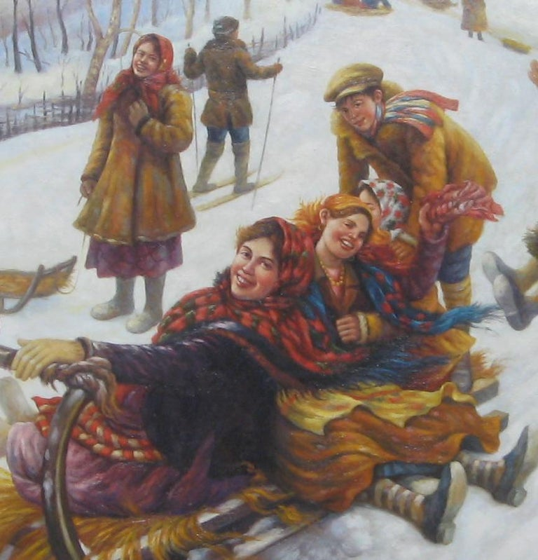 20th Century Anatoly Sokoloff Russian American Artist Winter Scene Painting, circa 1960s For Sale