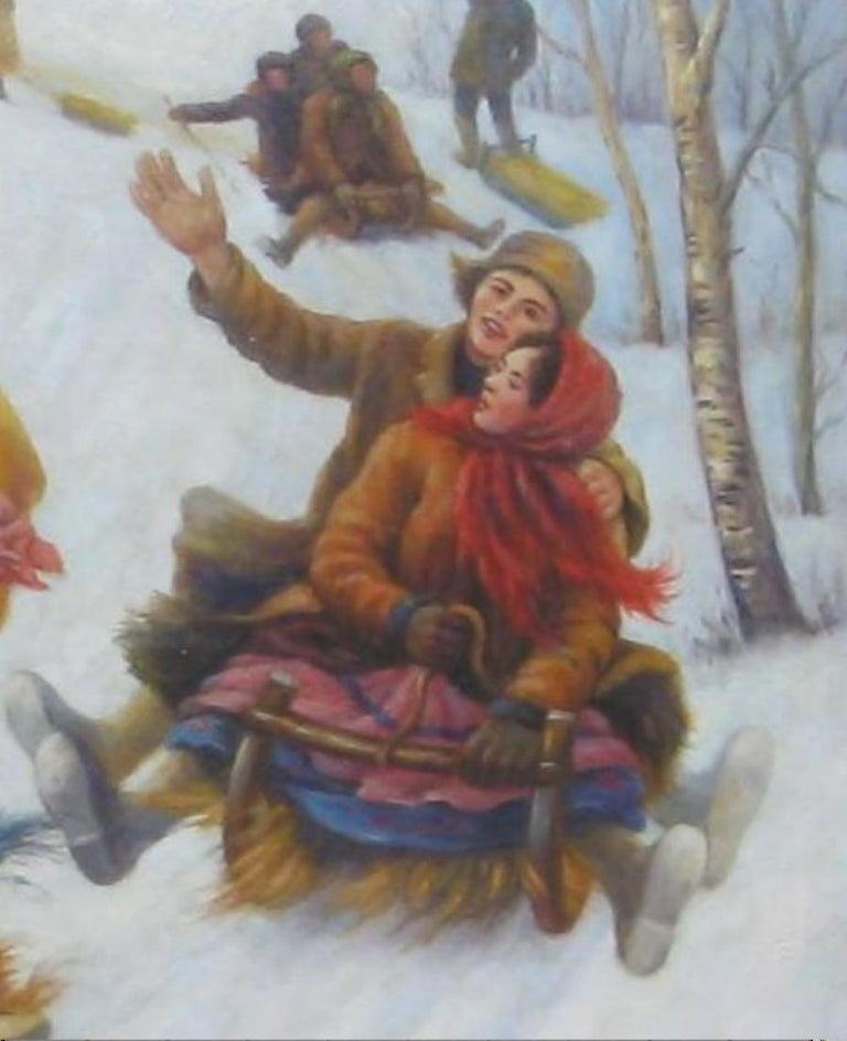 Canvas Anatoly Sokoloff Russian American Artist Winter Scene Painting, circa 1960s For Sale