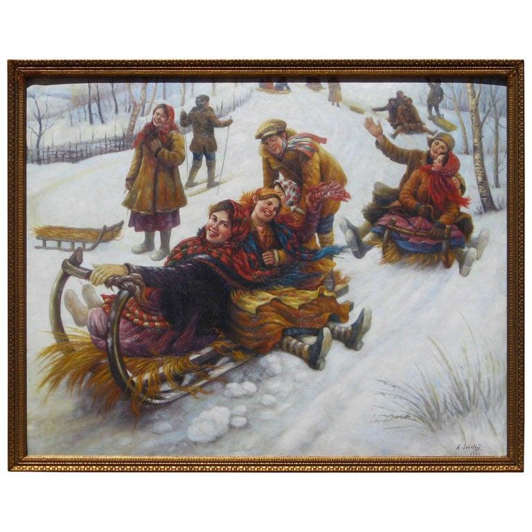 Anatoly Sokoloff Russian American Artist Winter Scene Painting, circa 1960s For Sale