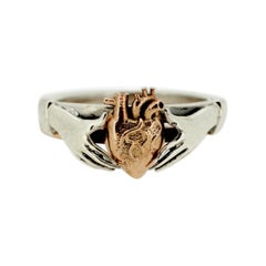 Anatomical Heart & Claddagh Ring Set in 9kt White & 9kt Rose Gold