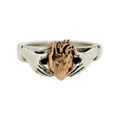 Anatomical Heart & Claddagh Ring Set in Sterling Silver & 9kt Rose Gold