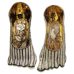 """Anatomy Body Parts """"Gold Feet"""", Biscuit Porcelain, Gold paint. Handmade Design."""