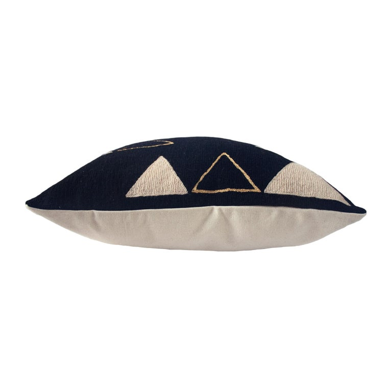 Indian Anaya Mountain Gold Hand Embroidered Modern Geometric Throw Pillow Cover