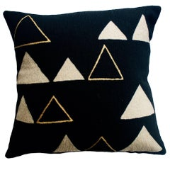 Anaya Mountain Gold Hand Embroidered Modern Geometric Throw Pillow Cover