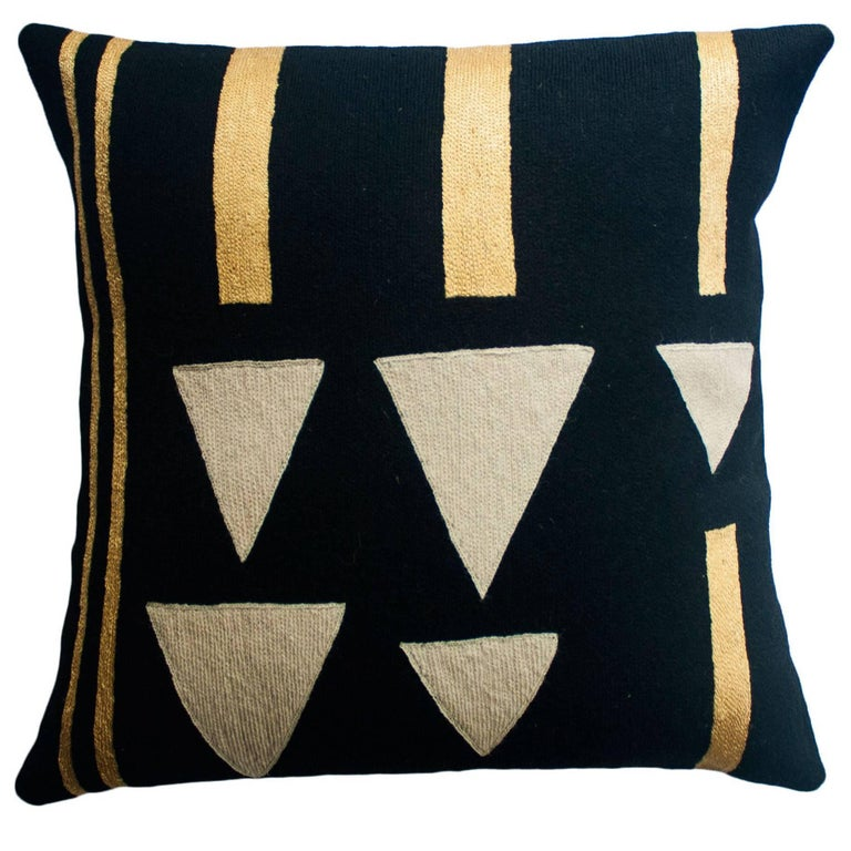 Anaya Rain Gold Hand Embroidered Modern Geometric Throw Pillow Cover For Sale