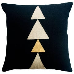 Anaya Tree Gold Hand Embroidered Modern Geometric Throw Pillow Cover