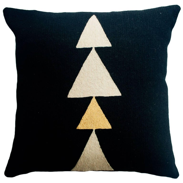 Anaya Tree Gold Hand Embroidered Modern Geometric Throw Pillow Cover For Sale