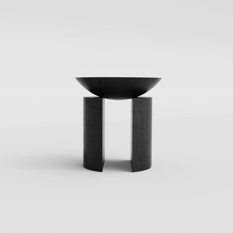 Minimalist Anca Sculptural Side Table or Stool in Tropical Hardwood by Pedro Paulo Venzon For Sale