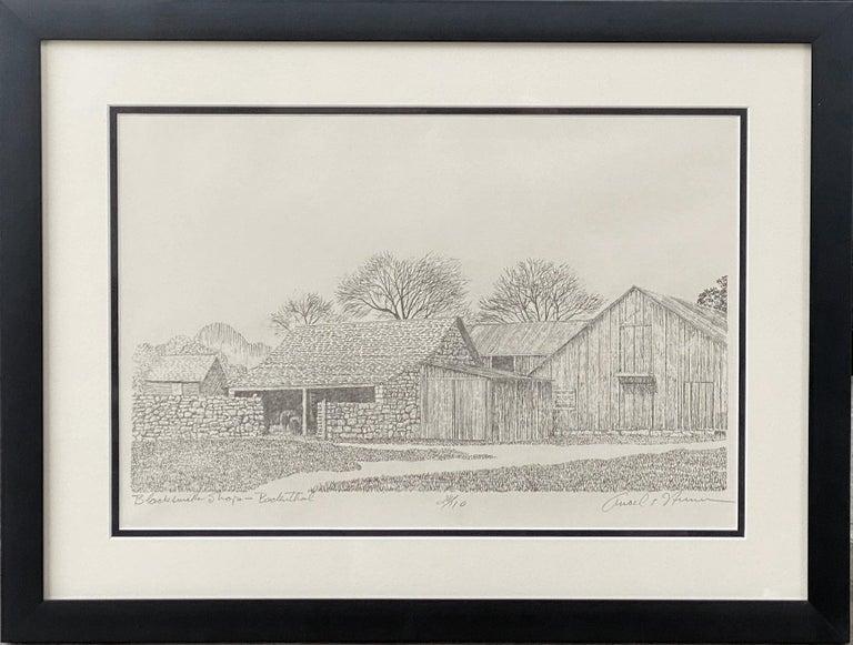 "Ancel Nunn Landscape Print - ""Blacksmith Shop - Badenthal""  Near Sisterdale Texas"