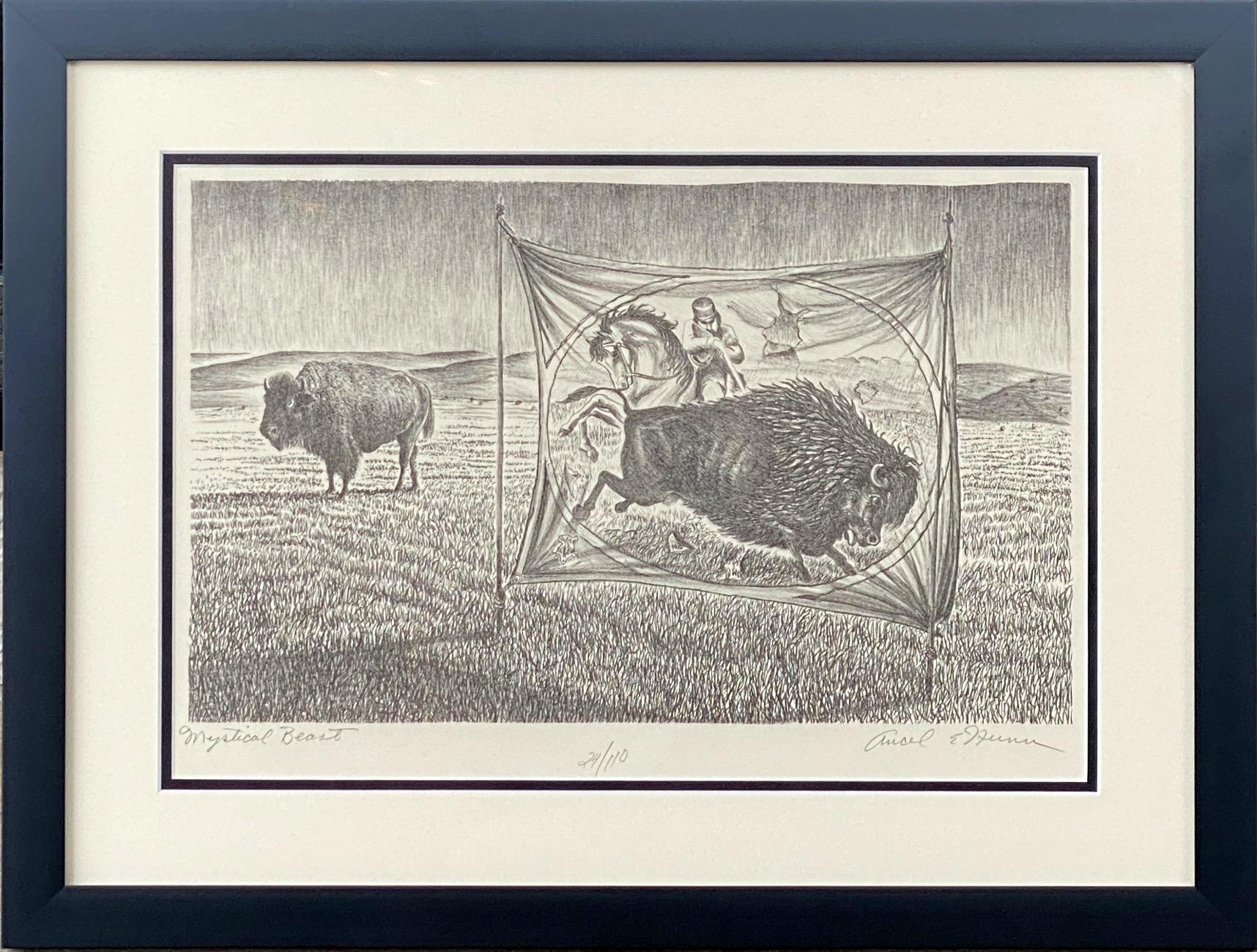 """""""MYSTICAL BEAST""""  BISON BUFFALO EARLY CIRCUS POSTER THEMED"""