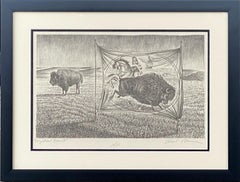 """MYSTICAL BEAST""  BISON BUFFALO EARLY CIRCUS POSTER THEMED"
