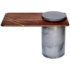 Anchor Side Table by Cauv Design Concrete Black Walnut and Brass