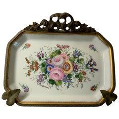 Ancienne Manufacture Royale et Imperiale de Porcelaines Bronze Porcelain Tray