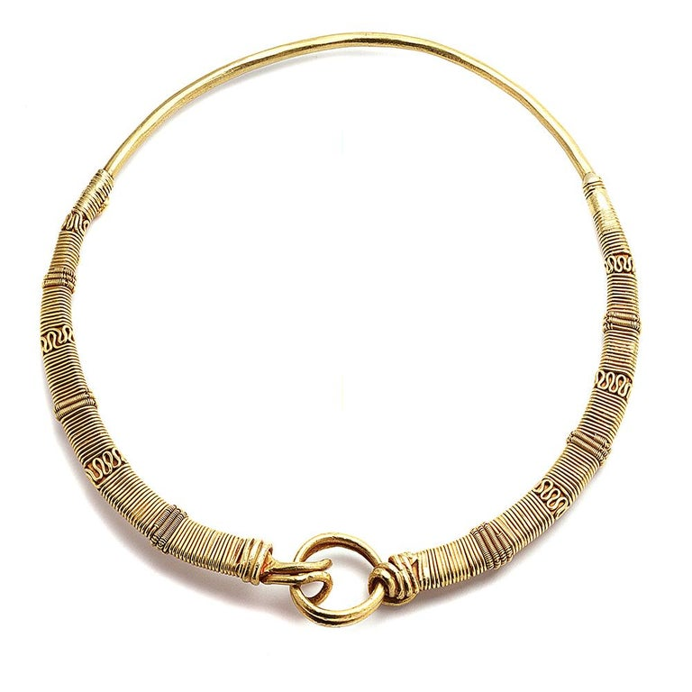 Ancient 24 Karat Yellow Gold Necklace with 99.3% Pure Gold and Almost 100 Years Old in History. The Necklace Is Part of COOMI's Antiquity Collection which is inspired by our ancient history and civilizations that lived in the past.