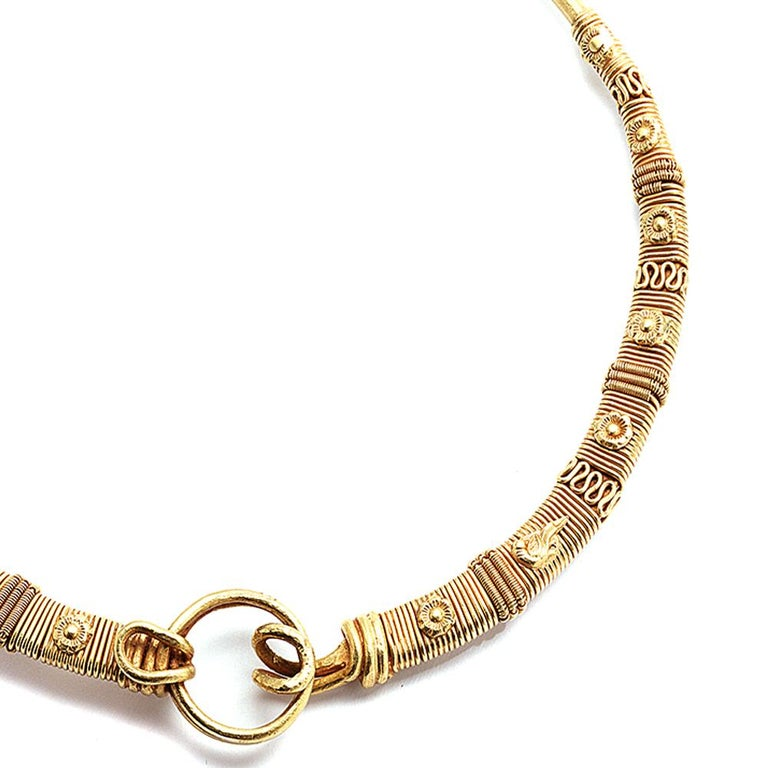 Ancient 24K Yellow Gold Necklace with Pure Gold In New Condition For Sale In Secaucus, NJ
