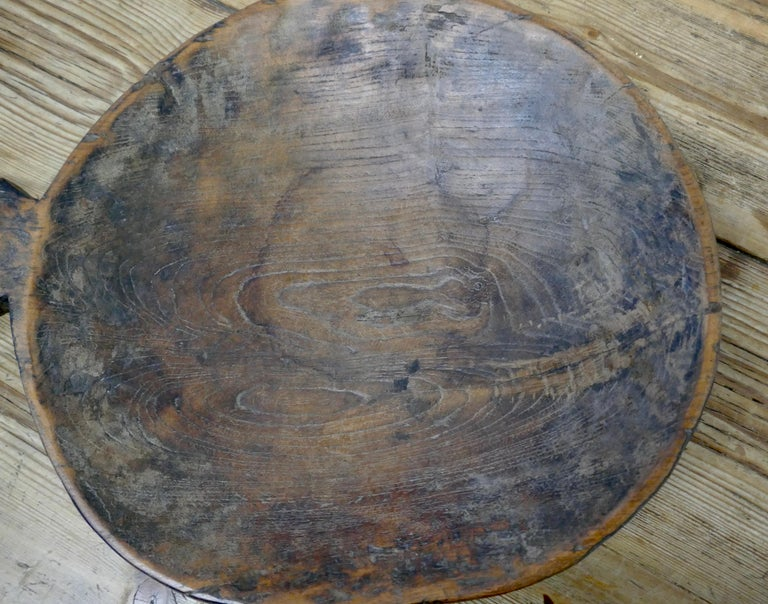 Rustic Ancient Asian Grain Scoop Bowl For Sale