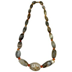 Ancient Bactrian Agate and Carnelian Bead Necklace, 3rd-2nd Millennium B.C.
