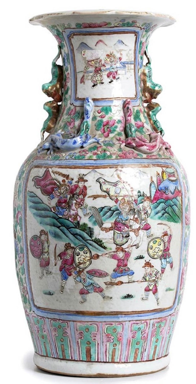 Chinese Ancient Balustrade Porcelain Vase, Qing Dynasty China For Sale