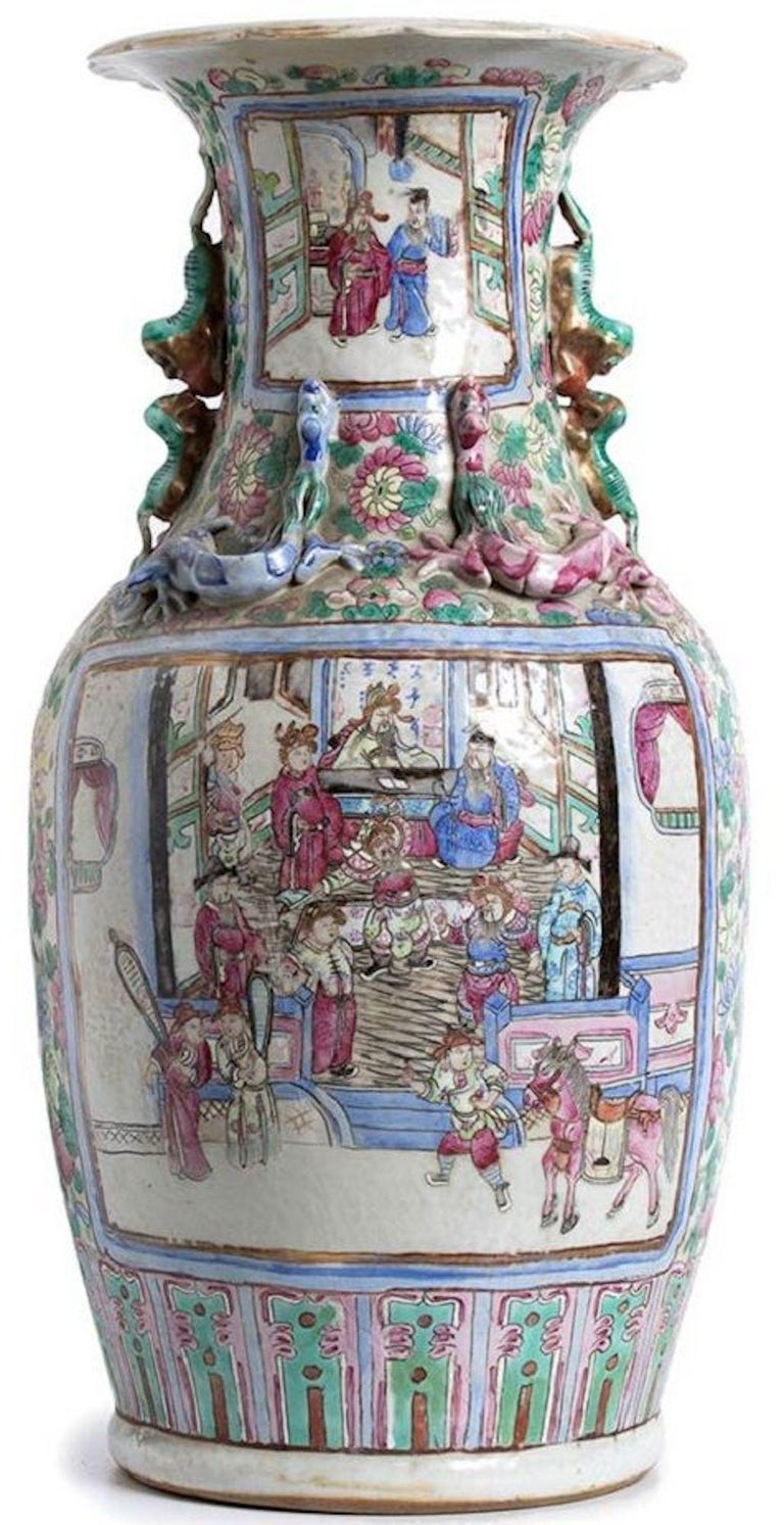 Ancient Balustrade Porcelain Vase, Qing Dynasty China In Good Condition For Sale In Roma, IT