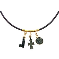 Ancient Bronze Byzantine Cross, Roman Coin and Key Leather Necklace
