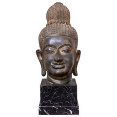 Ancient Bronze Head of Buddha, 19th Century