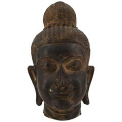 Ancient Bronze Head of Oriental Divinity, 19th Century
