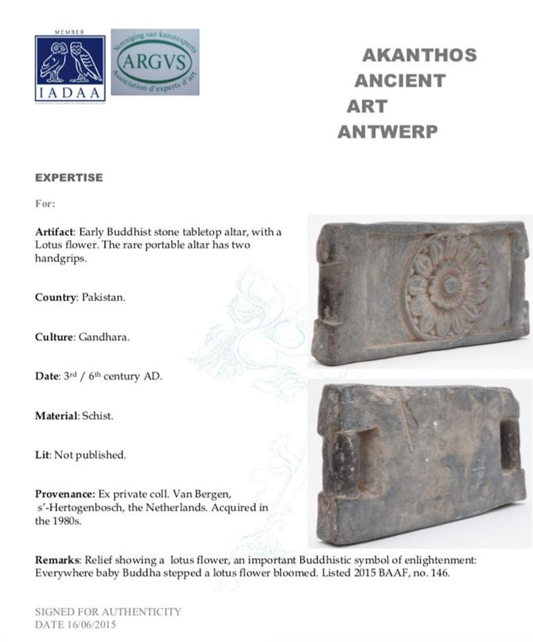 Hand-Crafted Ancient Buddhist Stone Tabletop Altar with a Lotus Flower For Sale