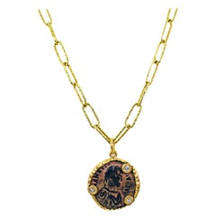 Ancient Byzantine Bronze Coin and Diamond 22 Karat Gold Pendant Necklace