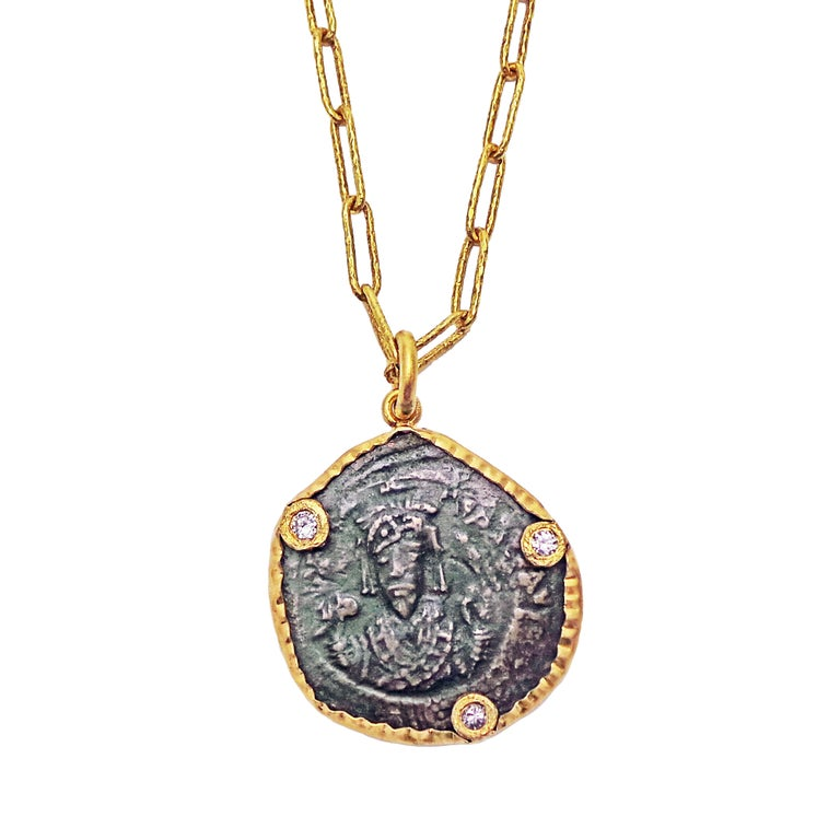 Ancient Byzantine Bronze Coin, Diamond and Gold Pendant Necklace