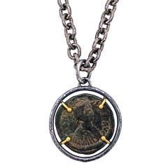 Ancient Byzantine Bronze Coin Two-Tone Pendant Necklace