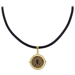 Ancient Byzantine Coin 22 Karat Gold Spinner Pendant on Leather Cord Necklace